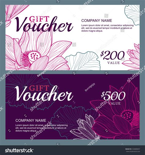 vector gift voucher template lotus lily stock vector