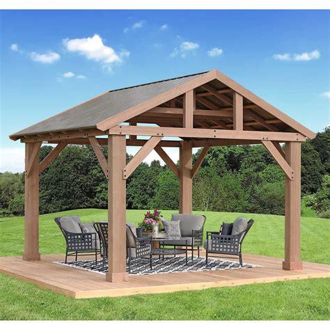 14 12 cedar pavilion gazebo with aluminum roof fsc certified ebay