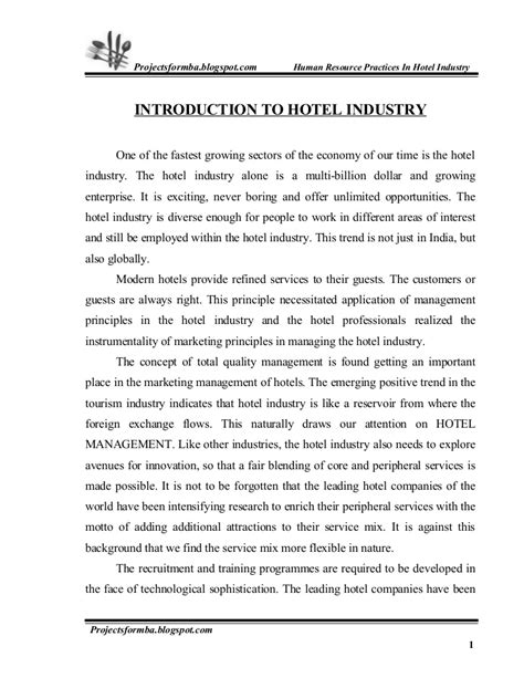 project report  hr practice  hotel industry