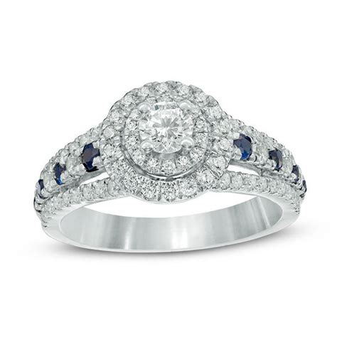 vera wang love collection 0 80 ct t w diamond and blue sapphire double frame engagement ring
