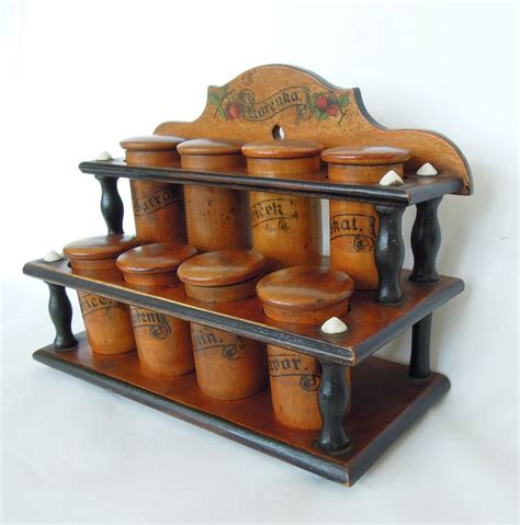 Vintage Wood Spice Rack by Antique Wood Spice Rack Cabinet Treen From