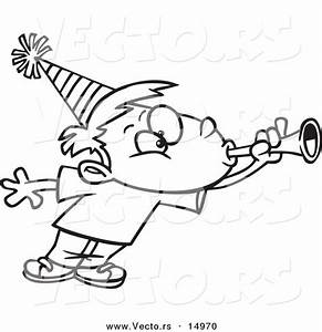 Vector of a Cartoon Party Boy Blowing a Horn - Coloring ...