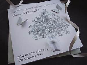 diamond heart tree wedding anniversary card handmade With images of diamond wedding anniversary cards