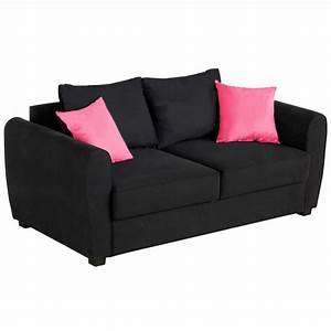 canape noir 3 places simili cuir univers canape With tapis ethnique avec canapé convertible tres bon couchage