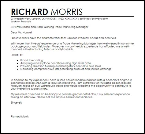 trade marketing manager cover letter sle livecareer