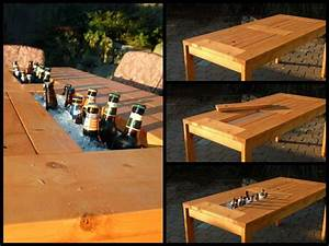 DIY Patio Table with Built-in Beer/Wine Coolers The