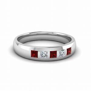 5 stone flush set diamond wedding band for men with ruby for Mens wedding rings with stones