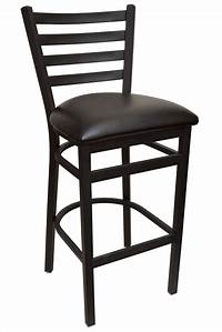 bar stools with backs GLADIATOR Ladder Back Metal Bar Stool with Black Vinyl Seat and Double Support Frame (Ships in 1 ...