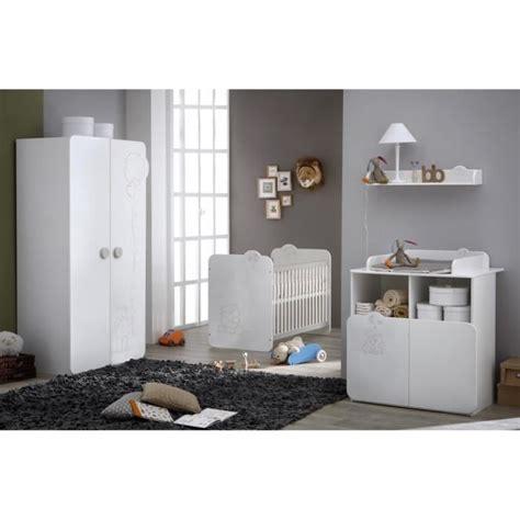 teddy chambre bébé complète coloris blanc et blanc velours