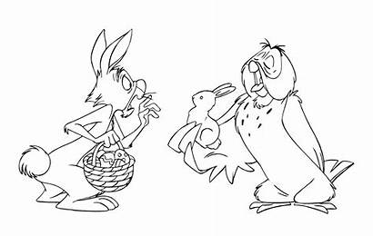Pooh Coloring Winnie Easter Rabbit Pages Owl