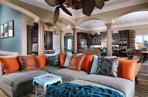 blue and gray living room combination orange blue gray living room color scheme modern home 9308