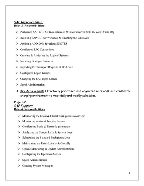 Work In Logon Resume by Mubashir Ahmed Erp Sap Basis Consultant Resume With 3 Yr Exp