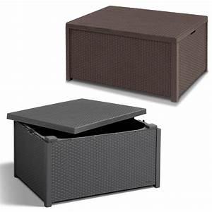 Poly rattan auflagenbox tisch beistelltisch hocker for Hocker tisch
