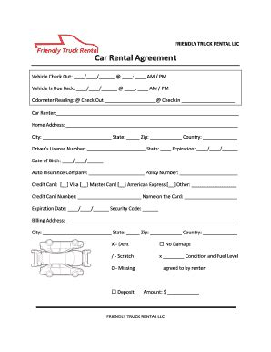 truck rental agreement sample forms  templates