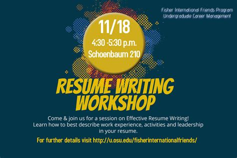 Resume Building Workshop by Fisher International Friends Going Global Feeling Home