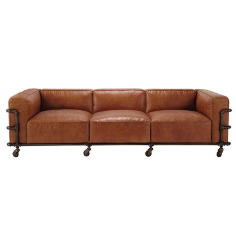 vintage sofa leder vintage sofa 4 sitzer aus leder havannafarben fabric maisons du monde