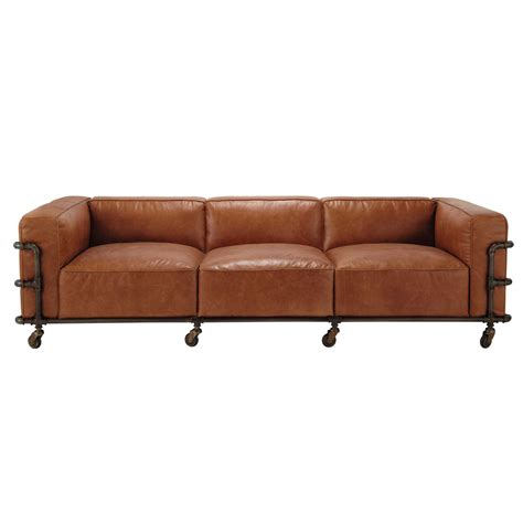vintage sofa 4 sitzer aus leder havannafarben fabric