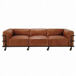 4 seater leather vintage sofa in havana brown fabric With canape cuir vintage maison du monde