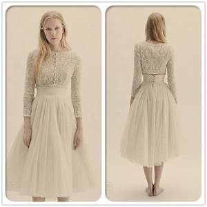 free shipping cw1624 lace long sleeve tea length vintage With two piece long sleeve wedding dress