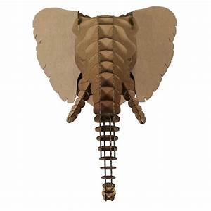 Trophée Animaux Carton : troph e t te d 39 elephant en carton brun xxl 51x67x53 animatomy t te d 39 animaux et troph es creavea ~ Melissatoandfro.com Idées de Décoration