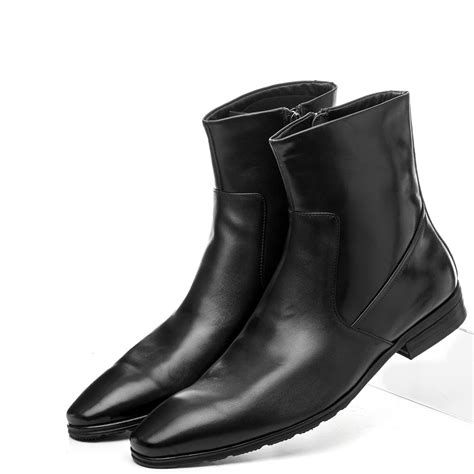 Quality Fashion Zipper Pointed Toe Black Mens Ankle Boots