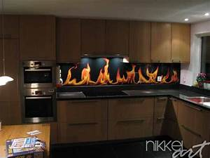 Crédence Cuisine En Verre : cr dence de cuisine en verre imprim flamme ~ Premium-room.com Idées de Décoration