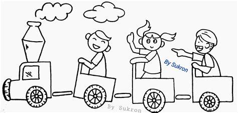 contoh gambar mewarnai anak bermain ditaman