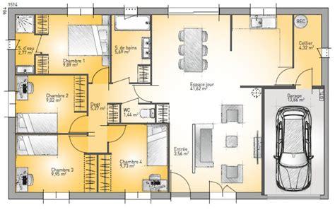 plan de maison basse 5 pi 232 ces