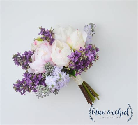 wedding bouquet lilac bouquet peony bouquet lavender silk