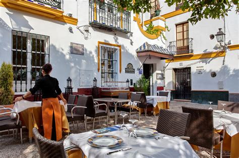 restaurant seville santa cruz sevilla tipical quarter spain andalusien spanien andalucia historical famous june part november editorial menu