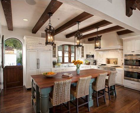 Spanish Style Kitchens Iron lantern pendants are perfect