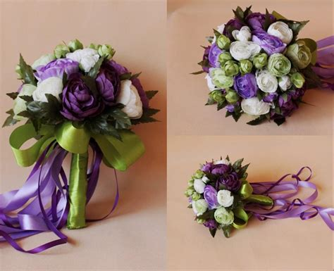 purple white bridal wedding bouquet  romantic cheap