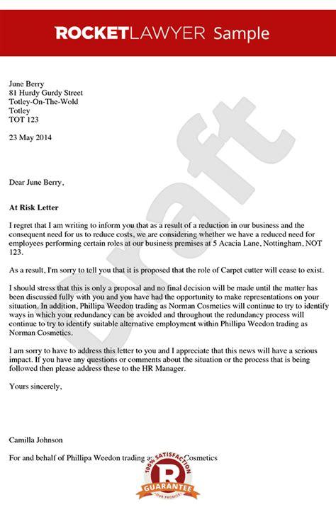 risk  redundancy letter create  risk  redundancy
