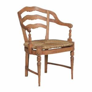 Hand-carved mahogany wood arm chair with a ladder back and ...