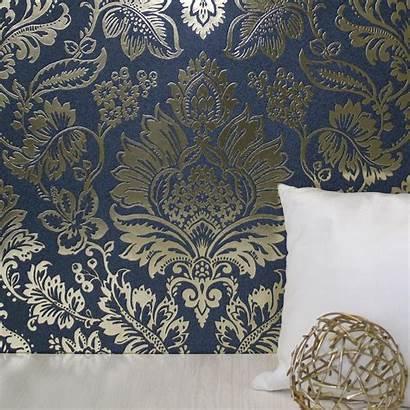 Navy Damask Dunelm Platinum Bedroom Foil Applied