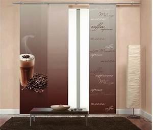 Schiebegardinen Weiß Blickdicht : 1 st schiebegardine 57 x 245 braun kaffee motiv ~ A.2002-acura-tl-radio.info Haus und Dekorationen
