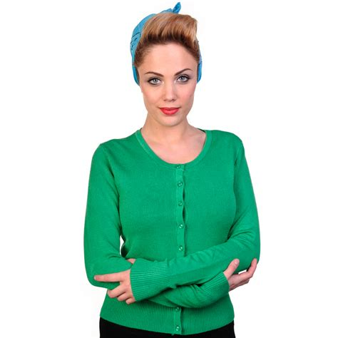 womens green cardigan sweater banned womens plain knitted 50s rockabilly