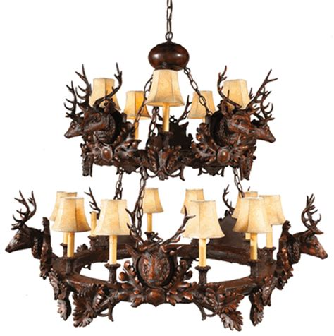 black forest stag two tier chandelier
