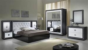 chambre adulte complete design laquee blanche et noire With chambre complete pas cher pour adulte