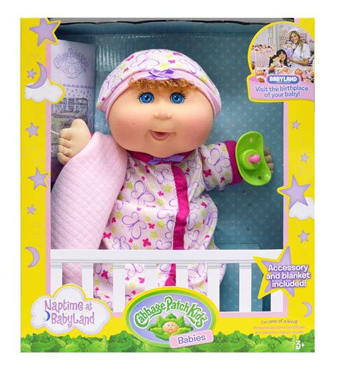"""Cabbage Patch Kids 12 5"""" Naptime Babies Blonde Hair/Blue"""