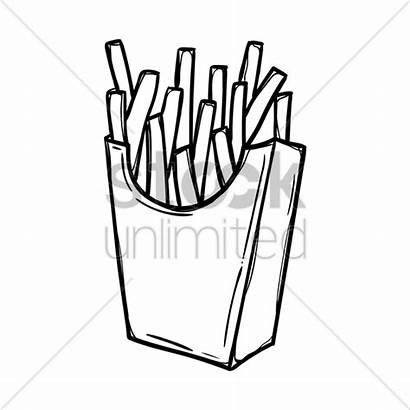 Fries French Vector Drawing Coloring Graphic Outline