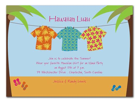 Tshirt Wording Template by Aloha Shirt Invitations