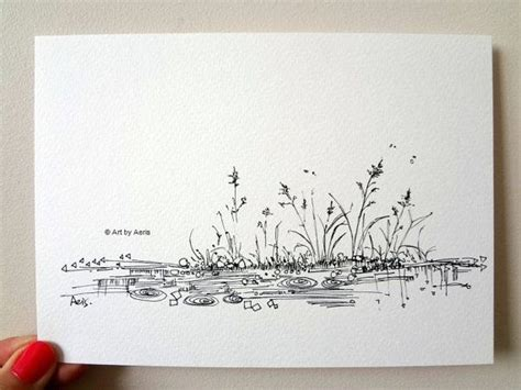 rain pond ink  print original ilustration drawing