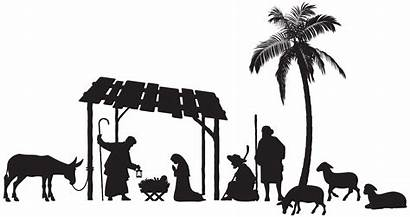Clipart Manger Nativity Stable Animal Scene Silhouette