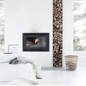 Tour De Cheminée : flush hearth fireplace log stack interiors rustic minimalist fireplace fireplace design ~ Nature-et-papiers.com Idées de Décoration