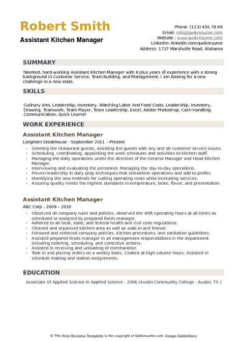 Kitchen Manager Skills Resume assistant kitchen manager resume sles qwikresume