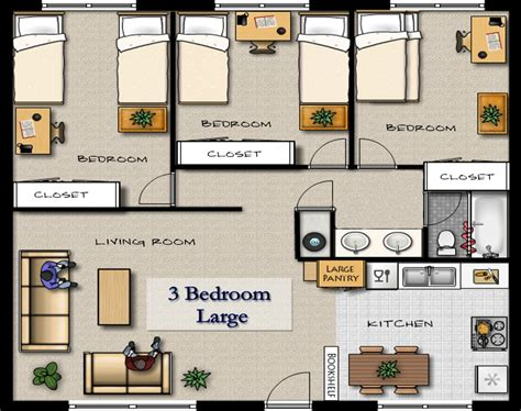 3 Bedroom Apartment Floor Plans by 25 Stunning Apartments Floor Plans 3 Bedrooms Home Plans