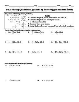 holt algebra 9 5a solving quadratic equation by factoring worksheet doc pdf