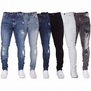 New ENZO Mens Stretch Super Skinny Ripped Casual Fashion Denim Jeans | eBay