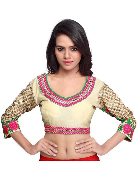 Buy Cream Color Raw Silk Embroidered Readymade Women